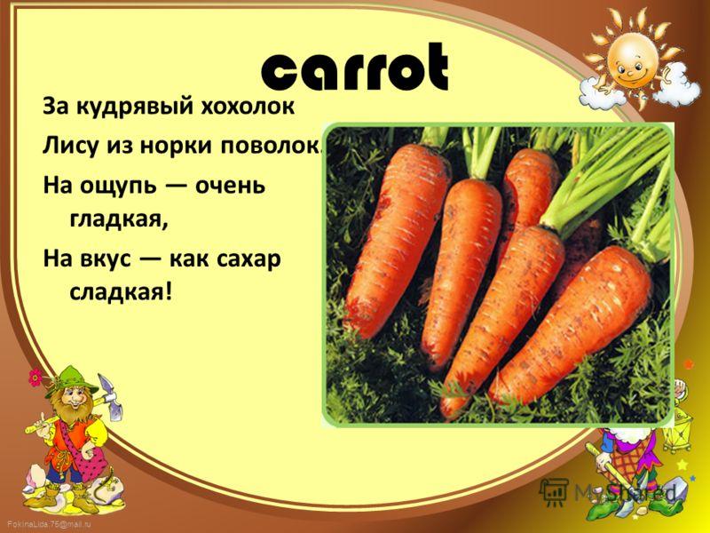FokinaLida.75@mail.ru carrot За кудрявый хохолок Лису из норки поволок. На ощупь очень гладкая, На вкус как сахар сладкая!
