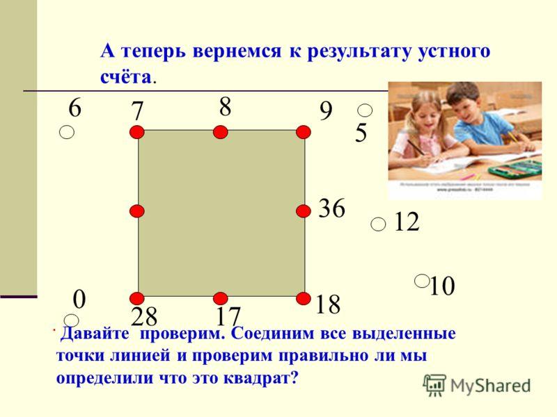 6 0 7 8 9 5 10 12 36 18 1728 А теперь вернемся к результату устного счёта. Давайте проверим. Соединим все выделенные точки линией и проверим правильно ли мы определили что это квадрат?