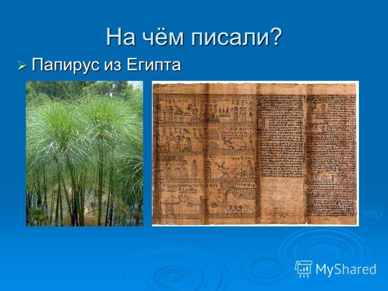 На чём писали? Папирус из Египта Папирус из Египта