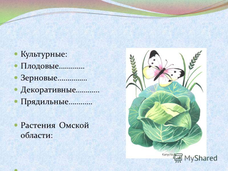 Культурные: Плодовые…………. Зерновые…………… Декоративные………… Прядильные………… Растения Омской области:.