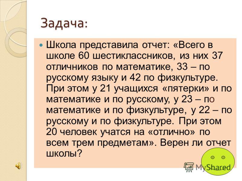Задача : Школа представила отчет: «Всего в школе 60 шестиклассников, из них 37 отличников по математике, 33 – по русскому языку и 42 по физкультуре. При этом у 21 учащихся «пятерки» и по математике и по русскому, у 23 – по математике и по физкультуре