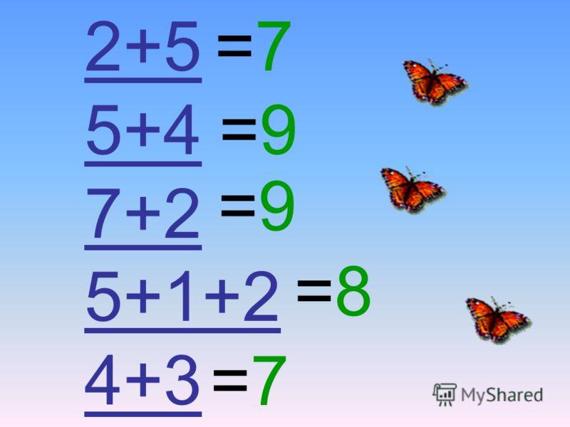 5+4 7+2 5+1+2 4+3 =7=7 =7=7 =9=9 =9=9 =8=8