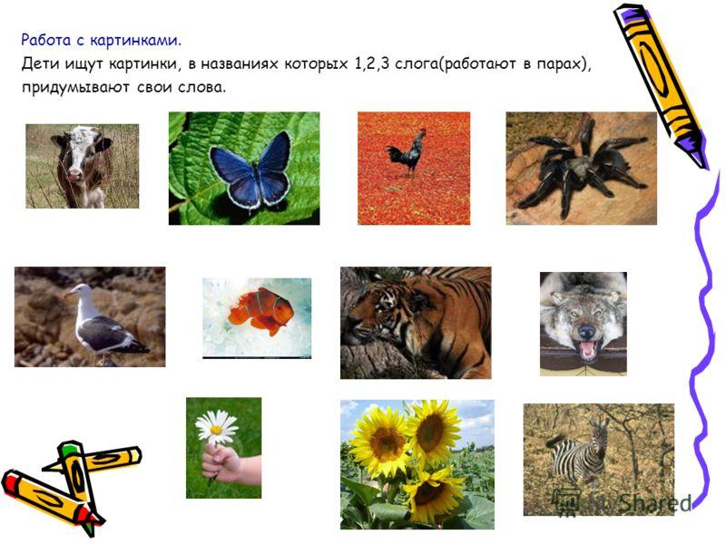 Работа с картинками. Дети ищут картинки, в названиях которых 1,2,3 слога(работают в парах), придумывают свои слова.