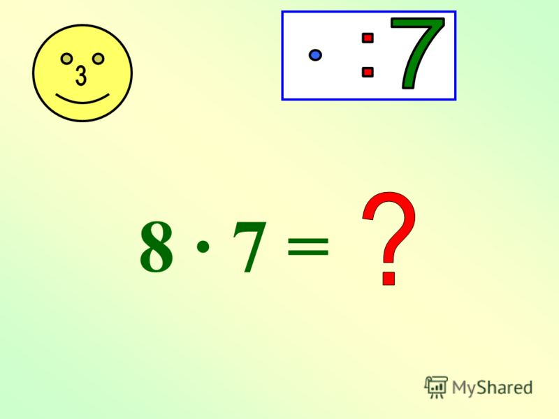 7 · 6 = 35 + 7 = 5 · 7 = 7 · 4 = 3 · 7 = 2 · 7 = 7 · 1 =