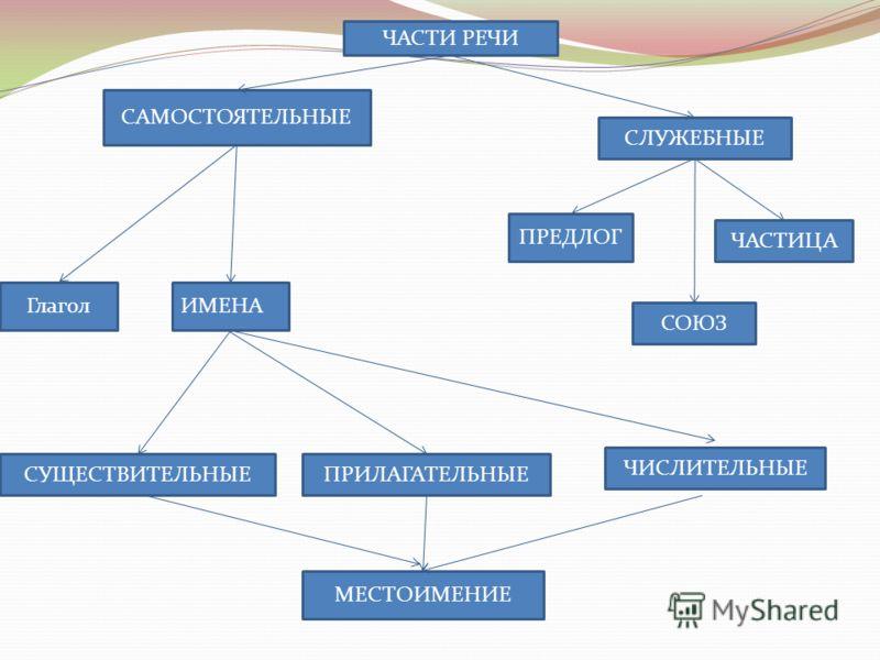 ЧАСТИ РЕЧИ САМОСТОЯТЕЛЬНЫЕ ГлаголИМЕНА СЛУЖЕБНЫЕ ПРЕДЛОГ ЧАСТИЦА СОЮЗ СУЩЕСТВИТЕЛЬНЫЕПРИЛАГАТЕЛЬНЫЕ ЧИСЛИТЕЛЬНЫЕ МЕСТОИМЕНИЕ