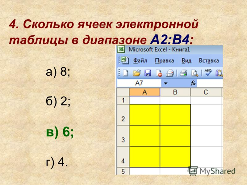 4. Сколько ячеек электронной таблицы в диапазоне A2:B4: а) 8; б) 2; в) 6; г) 4.