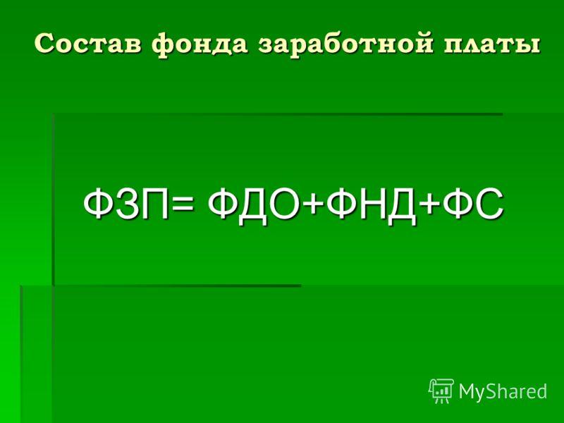 Состав фонда заработной платы ФЗП= ФДО+ФНД+ФС