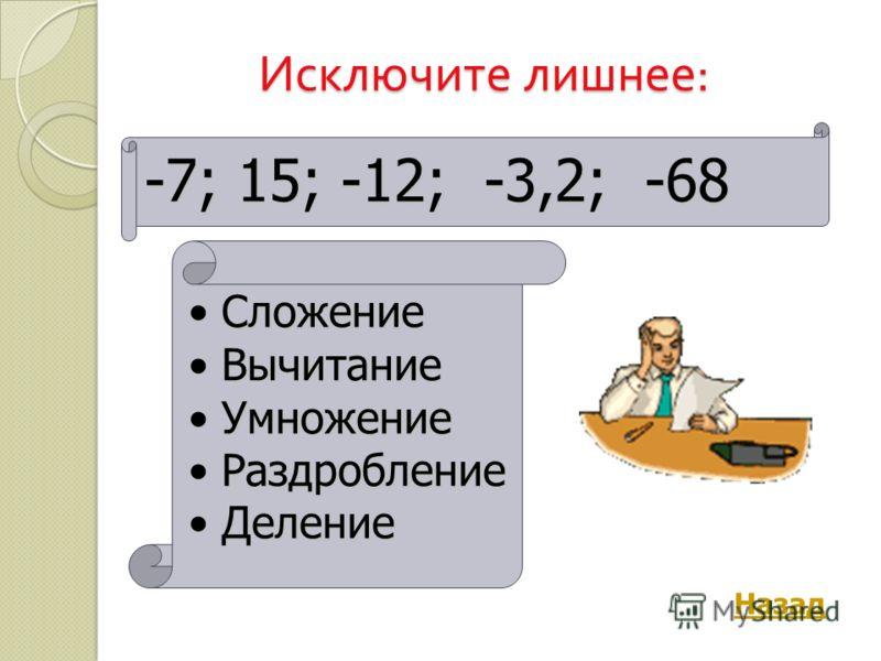 Исключите лишнее : -7; 15; -12; -3,2; -68 СложениеСложение ВычитаниеВычитание УмножениеУмножение РаздроблениеРаздробление ДелениеДеление Назад