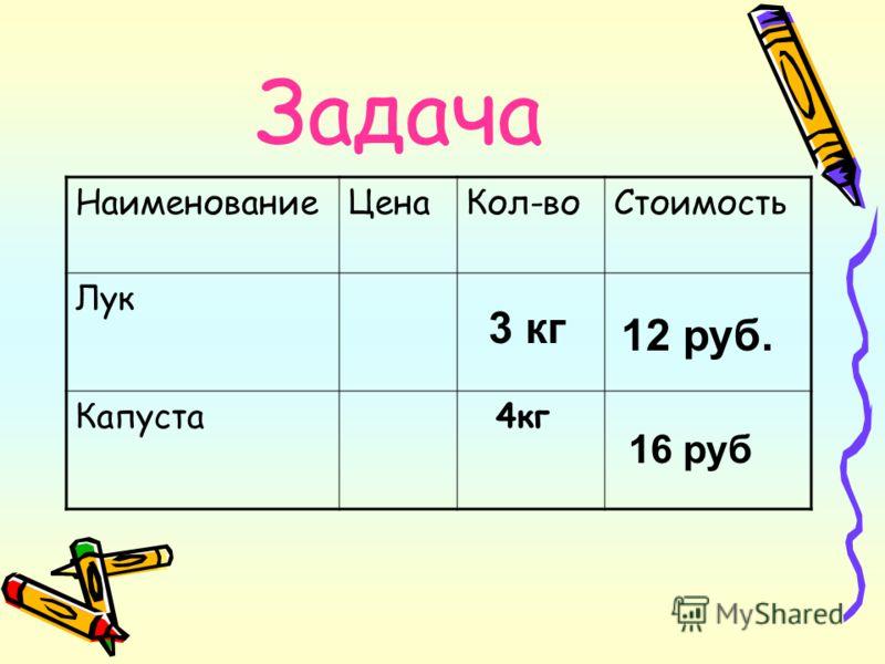 Задача НаименованиеЦенаКол-воСтоимость Лук Капуста 4кг 3 кг 12 руб. 16 руб