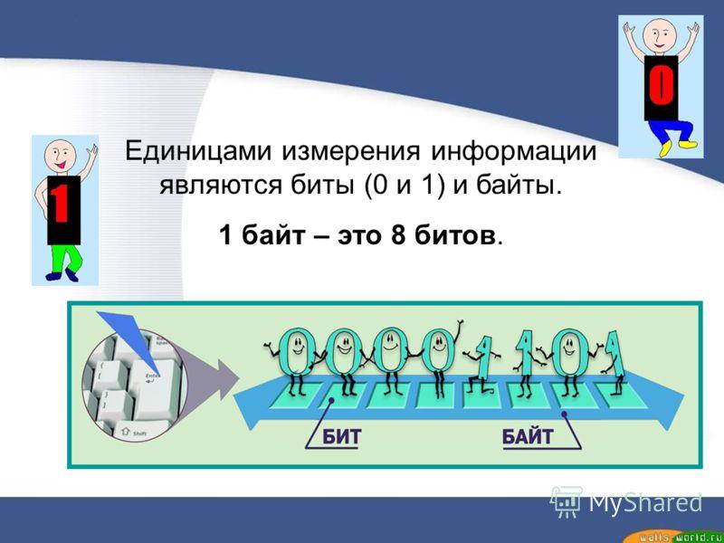 Единицами измерения информации являются биты (0 и 1) и байты. 1 байт – это 8 битов.