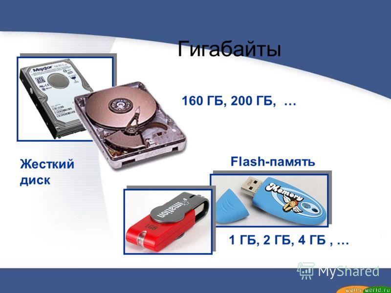 Гигабайты 160 ГБ, 200 ГБ, … 1 ГБ, 2 ГБ, 4 ГБ, … Жесткий диск Flash-память