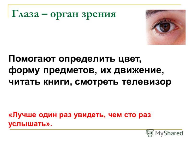Глаза – орган зрения Помогают определить цвет, форму предметов, их движение, читать книги, смотреть телевизор «Лучше один раз увидеть, чем сто раз услышать».