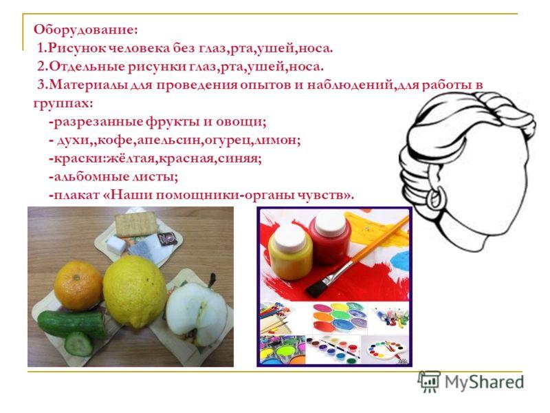 Оборудование: 1.Рисунок человека без глаз,рта,ушей,носа. 2.Отдельные рисунки глаз,рта,ушей,носа. 3.Материалы для проведения опытов и наблюдений,для работы в группах: -разрезанные фрукты и овощи; - духи,,кофе,апельсин,огурец,лимон; -краски:жёлтая,крас