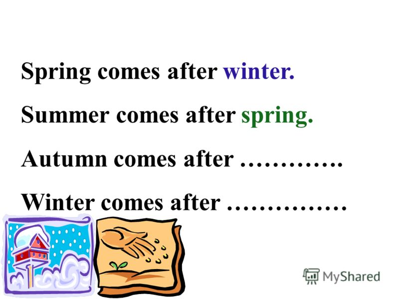 Spring comes after winter. Summer comes after spring. Autumn comes after …………. Winter comes after ……………