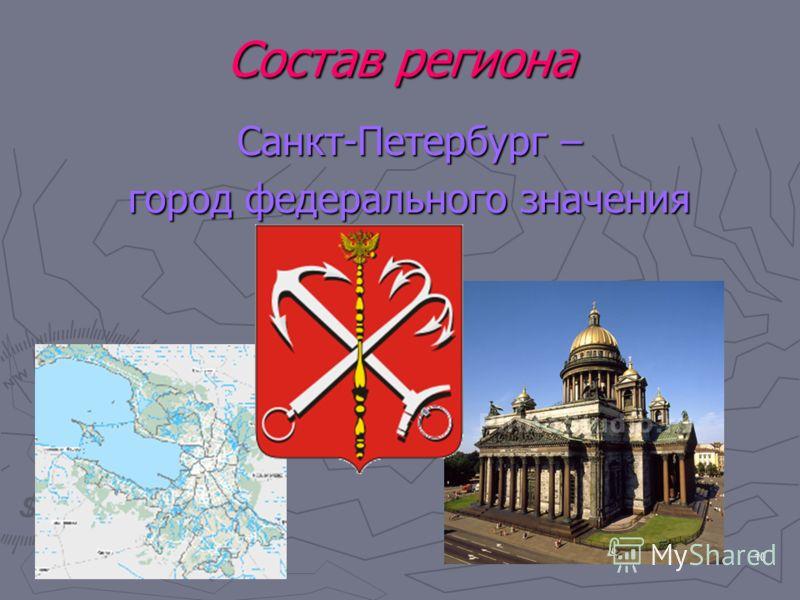 10 Состав региона Санкт-Петербург – город федерального значения