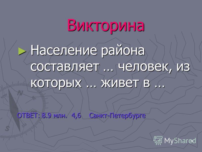 36 Викторина Население района составляет … человек, из которых … живет в … Население района составляет … человек, из которых … живет в … ОТВЕТ: 8.9 млн. 4,6 Санкт-Петербурге