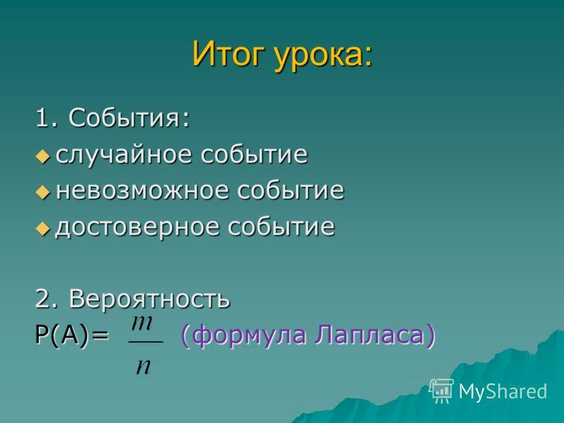Итог урока: 1. События: случайное событие случайное событие невозможное событие невозможное событие достоверное событие достоверное событие 2. Вероятность Р(А)= (формула Лапласа)