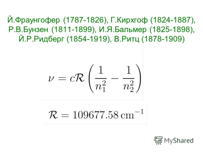 Й.Фраунгофер (1787-1826), Г.Кирхгоф (1824-1887), Р.В.Бунзен (1811-1899), И.Я.Бальмер (1825-1898), Й.Р.Ридберг (1854-1919), В.Ритц (1878-1909)