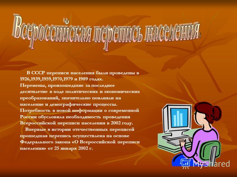 В СССР переписи населения были проведены в 1926,1939,1959,1970,1979 и 1989 годах. Перемены, произошедшие за последнее десятилетие в ходе политических и экономических преобразований, значительно повлияли на население и демографические процессы. Потре