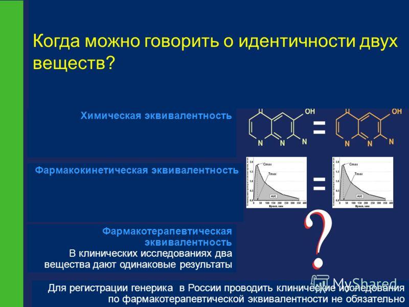 Когда можно говорить о идентичности двух веществ? Химическая эквивалентность Фармакокинетическая эквивалентность Фармакотерапевтическая эквивалентность В клинических исследованиях два вещества дают одинаковые результаты Для регистрации генерика в Рос