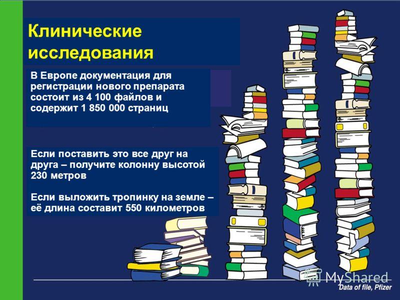 8 Клинические исследования В Европе документация для регистрации нового препарата состоит из 4 100 файлов и содержит 1 850 000 страниц Если поставить это все друг на друга – получите колонну высотой 230 метров Если выложить тропинку на земле – её дли