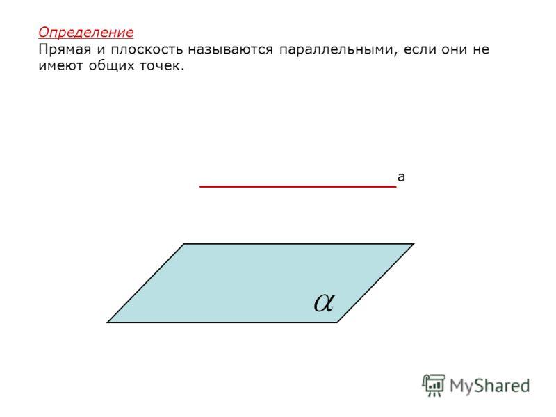 Определение Прямая и плоскость называются параллельными, если они не имеют общих точек. a