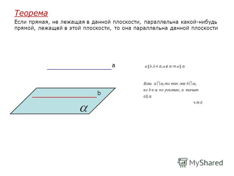 Теорема Если прямая, не лежащая в данной плоскости, параллельна какой-нибудь прямой, лежащей в этой плоскости, то она параллельна данной плоскости a b