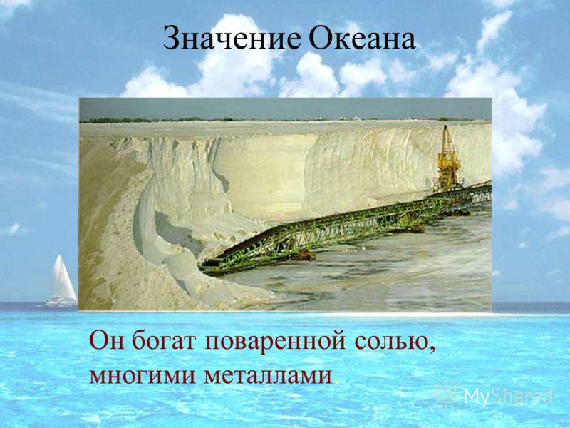 Значение Океана Он богат поваренной солью, многими металлами.