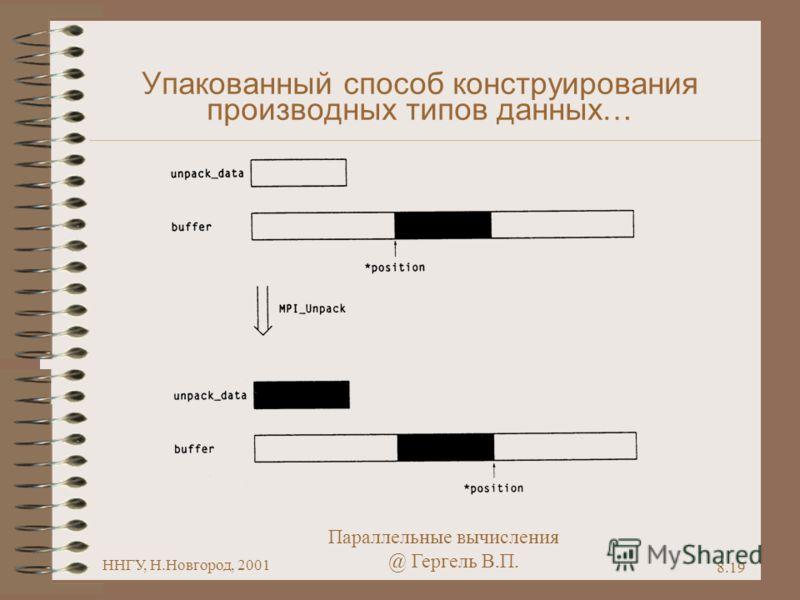 Параллельные вычисления @ Гергель В.П. ННГУ, Н.Новгород, 2001 8.19 Упакованный способ конструирования производных типов данных…