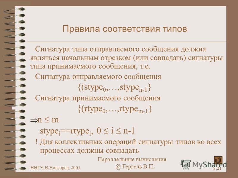 Параллельные вычисления @ Гергель В.П. ННГУ, Н.Новгород, 2001 8.21 Правила соответствия типов Сигнатура типа отправляемого сообщения должна являться начальным отрезком (или совпадать) сигнатуры типа принимаемого сообщения, т.е. Сигнатура отправляемог