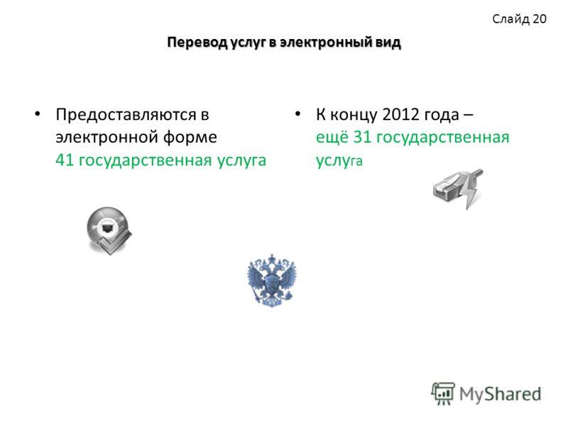 Перевод услуг в электронный вид Предоставляются в электронной форме 41 государственная услуга К концу 2012 года – ещё 31 государственная услу га Слайд 20