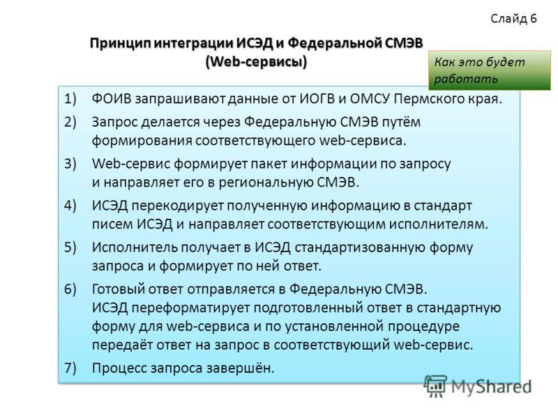 Принцип интеграции ИСЭД и Федеральной СМЭВ (Web-сервисы) 1)ФОИВ запрашивают данные от ИОГВ и ОМСУ Пермского края. 2)Запрос делается через Федеральную СМЭВ путём формирования соответствующего web-сервиса. 3)Web-сервис формирует пакет информации по зап