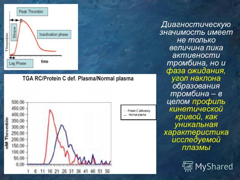 Диагностическую значимость имеет не только величина пика активности тромбина, но и фаза ожидания, угол наклона образования тромбина – в целом профиль кинетической кривой, как уникальная характеристика исследуемой плазмы