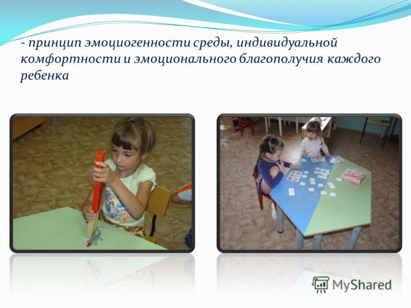 - принцип эмоциогенности среды, индивидуальной комфортности и эмоционального благополучия каждого ребенка