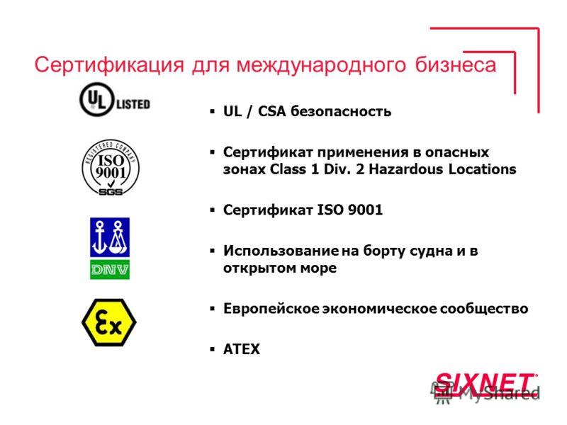 Сертификация для международного бизнеса UL / CSA безопасность Сертификат применения в опасных зонах Class 1 Div. 2 Hazardous Locations Сертификат ISO 9001 Использование на борту судна и в открытом море Европейское экономическое сообщество ATEX
