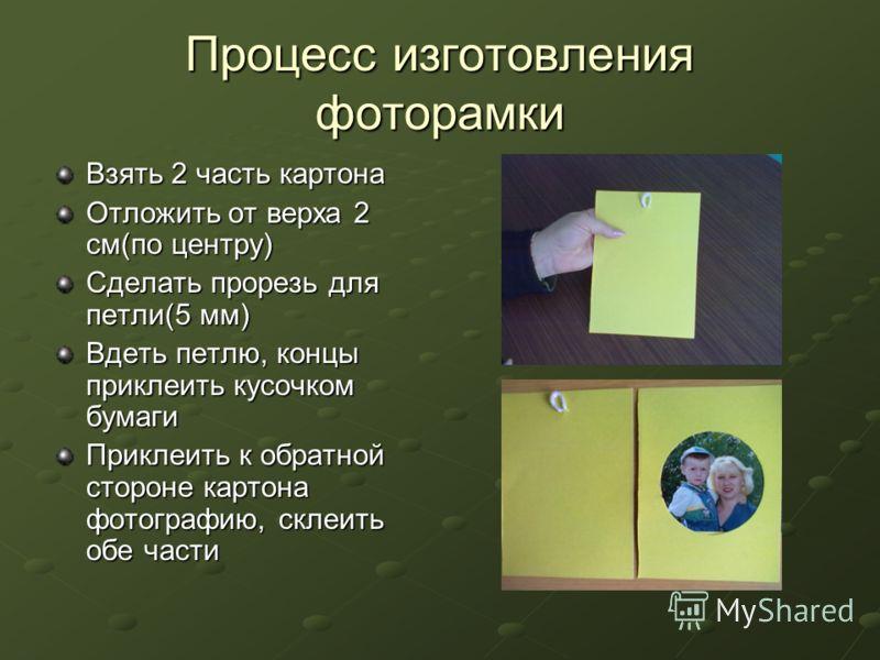 Процесс изготовления фоторамки Взять 2 часть картона Отложить от верха 2 см(по центру) Сделать прорезь для петли(5 мм) Вдеть петлю, концы приклеить кусочком бумаги Приклеить к обратной стороне картона фотографию, склеить обе части