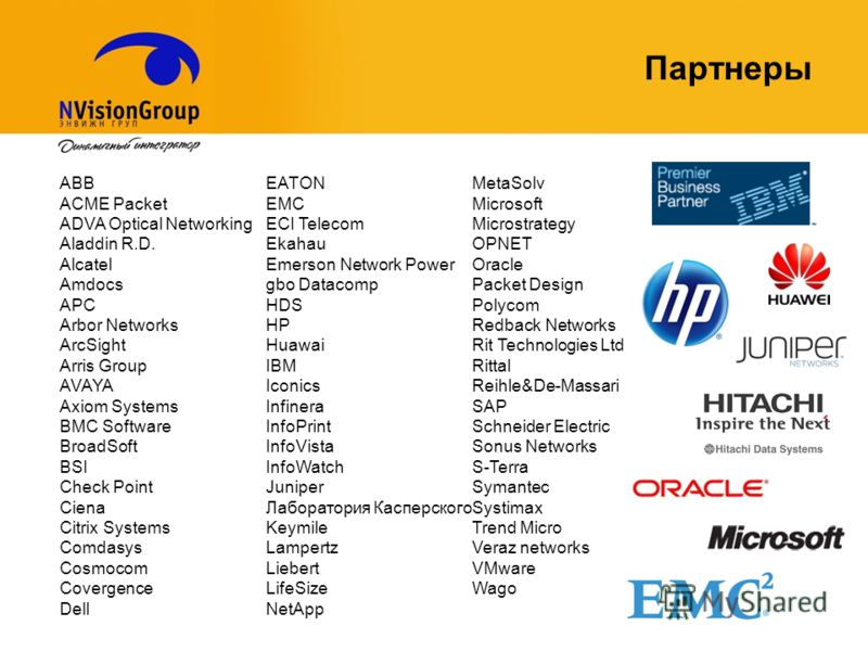Партнеры ABB ACME Packet ADVA Optical Networking Aladdin R.D. Alcatel Amdocs APC Arbor Networks ArcSight Arris Group AVAYA Axiom Systems BMC Software BroadSoft BSI Check Point Ciena Citrix Systems Comdasys Cosmocom Covergence Dell EATON EMC ECI Telec