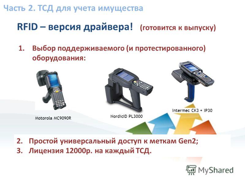 Часть 2. ТСД для учета имущества RFID – версия драйвера! (готовится к выпуску) 1.Выбор поддерживаемого (и протестированного) оборудования: Motorola MC9090R NordicID PL3000 Intermec CK3 + IP30 2.Простой универсальный доступ к меткам Gen2; 3.Лицензия 1