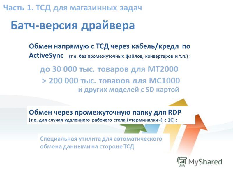 Часть 1. ТСД для магазинных задач Батч-версия драйвера Обмен напрямую с ТСД через кабель/кредл по ActiveSync (т.е. без промежуточных файлов, конвертеров и т.п.) : Специальная утилита для автоматического обмена данными на стороне ТСД > 200 000 тыс. то