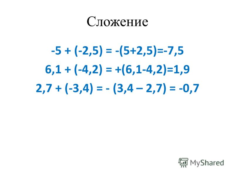 Сложение -5 + (-2,5) = -(5+2,5)=-7,5 6,1 + (-4,2) = +(6,1-4,2)=1,9 2,7 + (-3,4) = - (3,4 – 2,7) = -0,7
