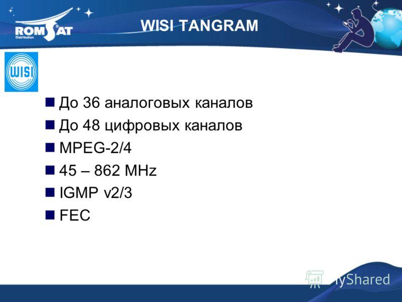 До 36 аналоговых каналов До 48 цифровых каналов MPEG-2/4 45 – 862 MHz IGMP v2/3 FEC WISI TANGRAM
