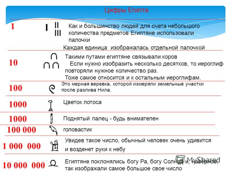 Как и большинство людей для счета небольшого количества предметов Египтяне использовали палочки Каждая единица изображалась отдельной палочкой Такими путами египтяне связывали коров Если нужно изобразить несколько десятков, то иероглиф повторяли нужн