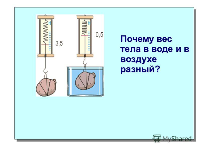 Почему вес тела в воде и в воздухе разный?