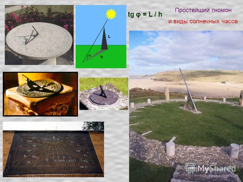 Простейший гномон и виды солнечных часов tg φ = L / h