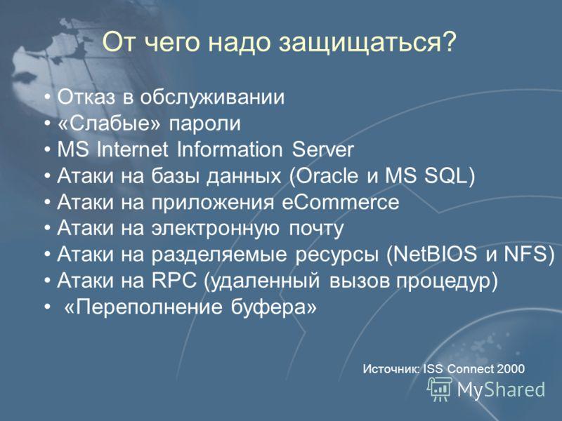 От чего надо защищаться? Отказ в обслуживании «Слабые» пароли MS Internet Information Server Атаки на базы данных (Oracle и MS SQL) Атаки на приложения eCommerce Атаки на электронную почту Атаки на разделяемые ресурсы (NetBIOS и NFS) Атаки на RPC (уд