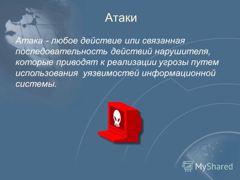 Атаки Атака - любое действие или связанная последовательность действий нарушителя, которые приводят к реализации угрозы путем использования уязвимостей информационной системы.