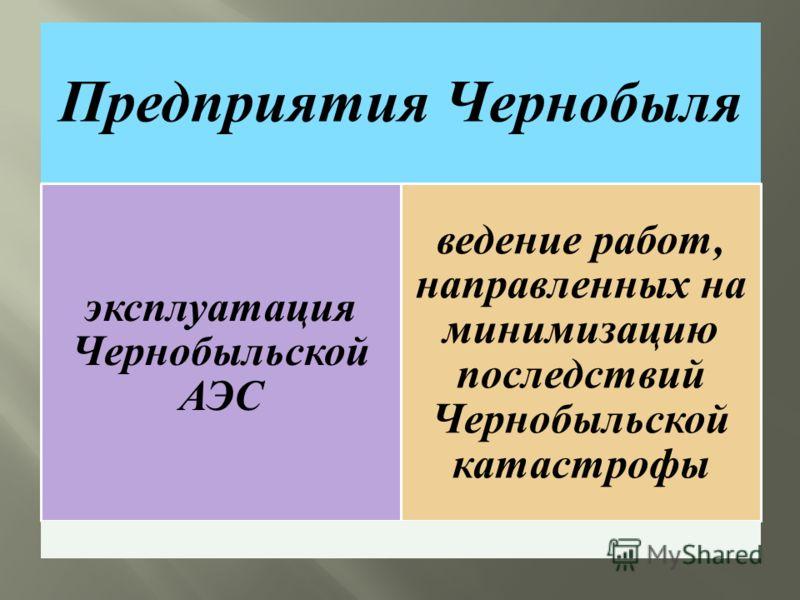 Предприятия Чернобыля эксплуатация Чернобыльской АЭС ведение работ, направленных на минимизацию последствий Чернобыльской катастрофы