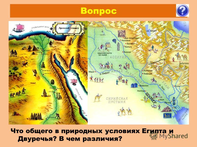 Вопрос Что общего в природных условиях Египта и Двуречья? В чем различия?
