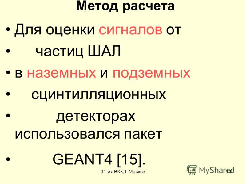 31-ая ВККЛ, Москва14 Метод расчета Для оценки сигналов от частиц ШАЛ в наземных и подземных сцинтилляционных детекторах использовался пакет GEANT4 [15].