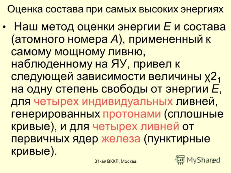 31-ая ВККЛ, Москва31 Оценка состава при самых высоких энергиях Наш метод оценки энергии E и состава (атомного номера А), примененный к самому мощному ливню, наблюденному на ЯУ, привел к следующей зависимости величины χ2 1 на одну степень свободы от э